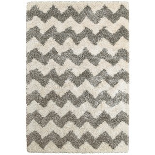 Chevron Stripes Grey/Ivory Shag Rug - 5'3 x 7'6