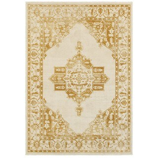 Two-tone Traditional Medallion Ivory/Gold Nylon/Polypropylene/Synthetic Area Rug (5'3 x 7'6)