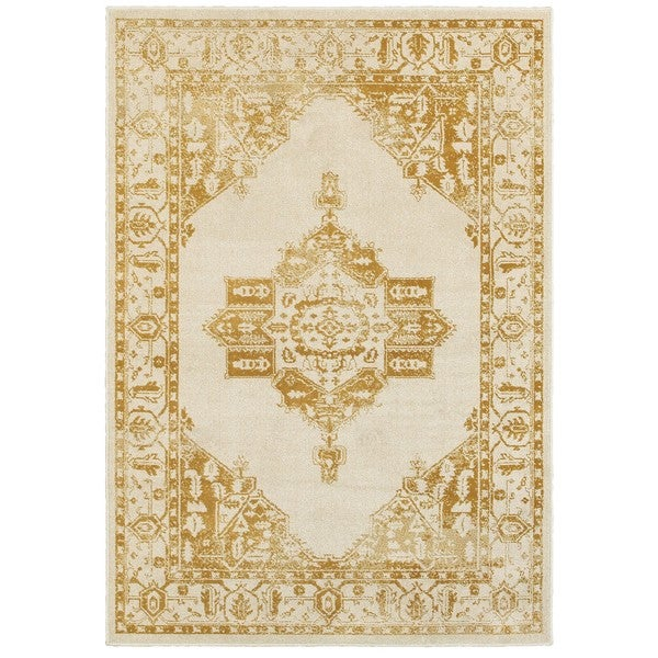 "Silver Orchid Bennison Two-tone Traditional Medallion Ivory/Gold Nylon/Polypropylene/Synthetic Area Rug - 5'3"" x 7'6"""