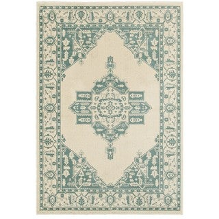 Style Haven Traditional Medallion Ivory/ Blue Polypropylene Area Rug (5'3 x 7'6)