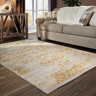 Style Haven Faded Traditions Ivory/Gold Nylon/Polypropylene Area Rug (5'3 x 7'6)