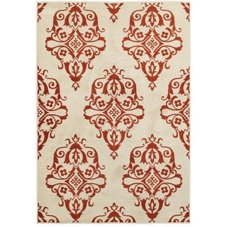 Floral Medallions Ivory/Rust Area Rug (5'3 x 7'6)