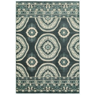 New Traditions Blue/Ivory Polypropylene and Nylon Area Rug (6'7 x 9'6)