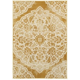 Silver Orchid Dermoz Two-tone Floral Medallion Gold/Ivory Area Rug - 5'3 x 7'6
