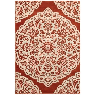 Two-tone Floral Medallion Rust/Ivory Nylon/Polypropylene/Synthetic Area Rug (5'3 x 7'6)