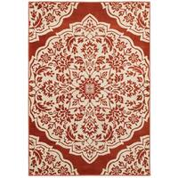 Rust/Ivory Nylon/Polypropylene/Synthetic Two-tone Floral Medallion Area Rug (6'7 x 9'6)