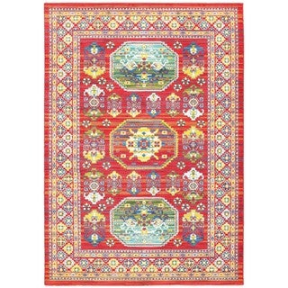 Old World Inspired Red/Multi Polypropylene Area Rug (5'3 x 7'6)