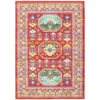 Old World Inspired Red/Multi Polypropylene Area Rug - 5'3 x 7'6
