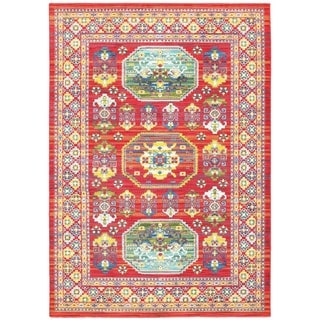 Old World Inspired Red/Multicolored Polypropylene/Synthetic Area Rug (6'7 x 9'6)