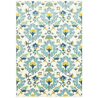 Modern Floral Traditions Ivory/Blue Area Rug (6'7 x 9'6)