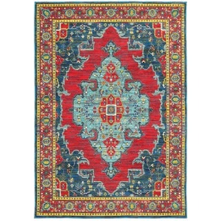 Old World Inspired Blue/Red Area Rug (6'7 x 9'6)