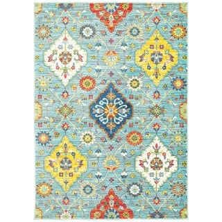 Floral Medallions Blue and Multicolored Polypropylene Area Rug (5'3 x 7'6)