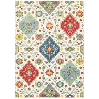 Floral Medallions Ivory/Multicolored Polypropylene Area Rug (6'7 x 9'6)