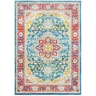 Distressed Traditional Red/Multi Polypropylene Area Rug (5' 3 x 7' 6)
