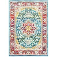 Gracewood Hollow Sneve Distressed Traditional Red/Multi Polypropylene Area Rug (5' 3 x 7' 6)