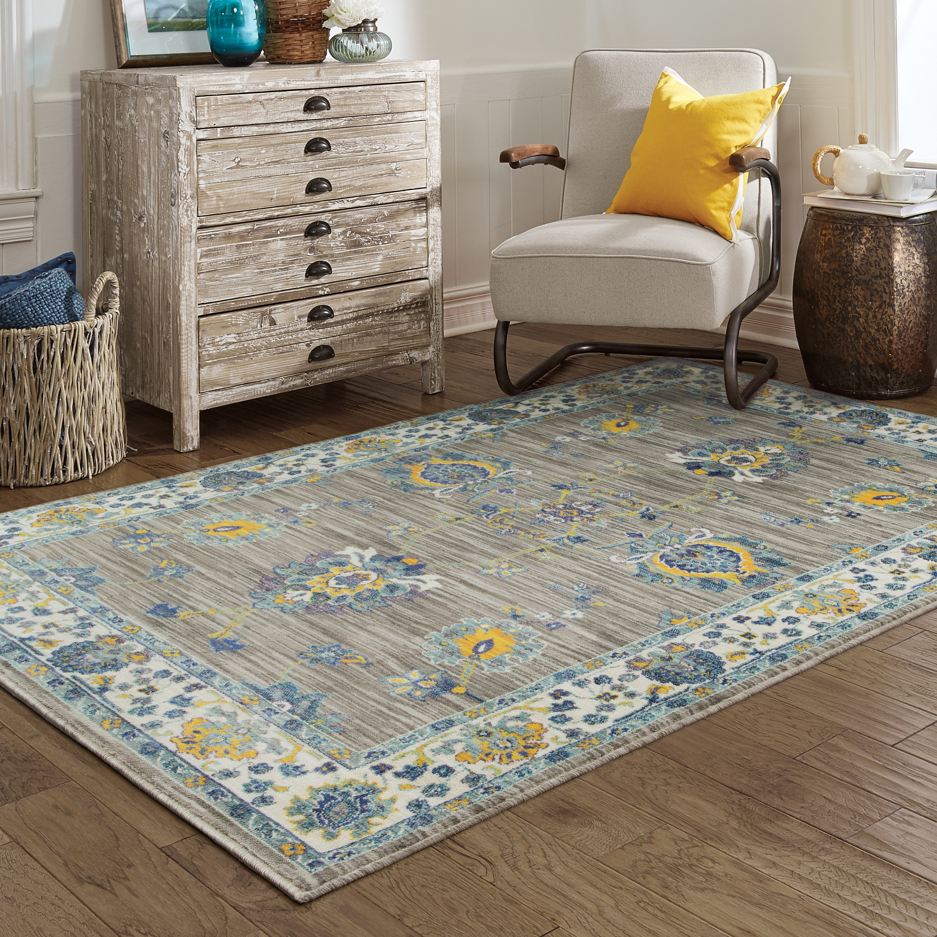 Gracewood Hollow Soctomah Distressed Traditional Grey Yellow Area Rug 6 7 X 9
