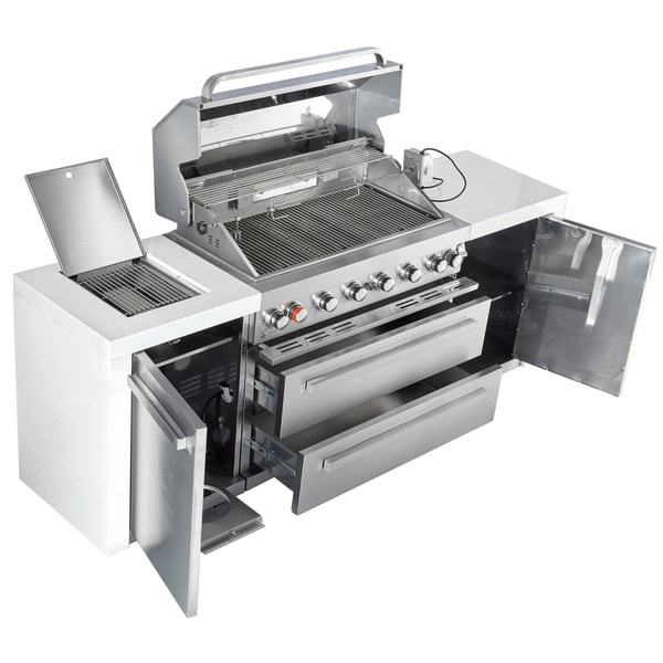 Mont Alpi 805 Stainless Steel Gas Island Grill Free