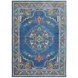 Old World-inspired Medallion Blue/Multicolored Area Rug (6'7 x 9'6)