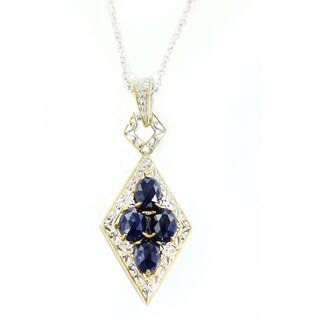 One-of-a-kind Michael Valitutti Rose Cut Blue Sapphire Pendant