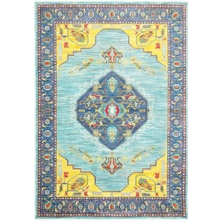 Old World-inspired Medallion Blue/Yellow Area Rug (5'3 x 7'6)