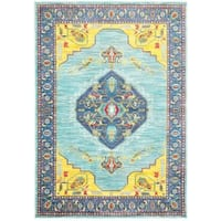 "Old World-inspired Medallion Blue/Yellow Area Rug - 5'3"" x 7'6"""