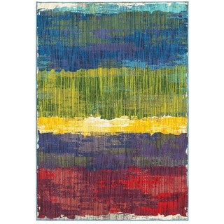 Abstract Etchings Multicolored Area Rug (6'7 x 9'6)