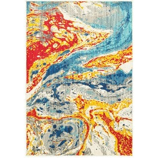 Style Haven Bold Abstract Waves Stone/Multicolor Polypropylene Area Rug (5'3 x 7'6)