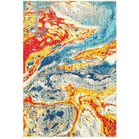 "Style Haven Bold Abstract Waves Stone/Multicolor Polypropylene Area Rug (5'3 x 7'6) - 5'3"" x 7'6"""
