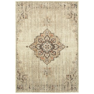 Floral Medallion Ivory/Brown Area Rug (6'7 x 9'6)
