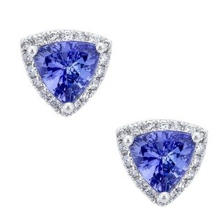 Anika and August 18K White Gold Tanzanite and Diamond Stud Earrings