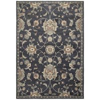 Traditional Floral Blue/Ivory Area Rug - 5' 3 x 7' 6