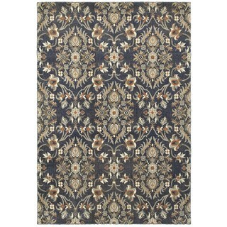 All Over Floral and Vine Blue/Brown Area Rug (5'3 x 7'6)