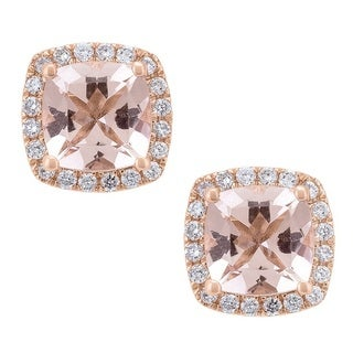 Anika and August 14k Rose Gold Morganite and 1/5ct TDW Diamond Earrings (G-H,I1-I2)