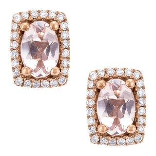 Anika and August 10K Rose Gold Morganite and Diamond Stud Earrings
