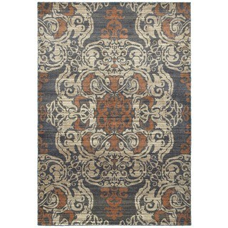 Overscale Medallion Blue/Rust Polypropylene/Synthetic Area Rug (6'7 x 9'6)