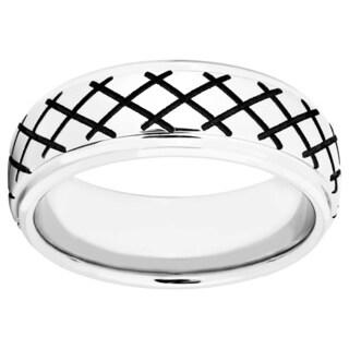 Mens Cobalt Crosshatch-design Band - Silver