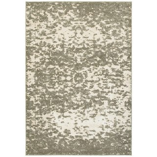 Plush Abstract Ivory/ Grey Polypropylene/Polyester/Synthetic Fiber Area Rug (6' 7 x 9' 6)