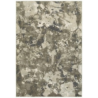 Plush Abstract Grey/Ivory Area Rug (6'7 x 9'6)