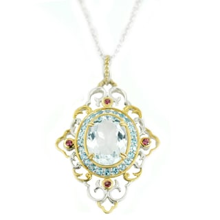 One-of-a-kind Michael Valitutti Aquamarine, Swiss Blue Topaz and Rhodolite Pendant