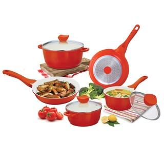 Orange Die-cast Aluminum Cookware Set (8-piece Set)