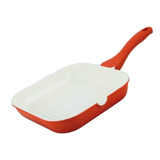 Orange Die-cast Aluminum Square 9.5-inch Grill Pan