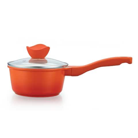 Orange Die Cast Aluminum 1.5-quart Ceramic-Coated Saucepan