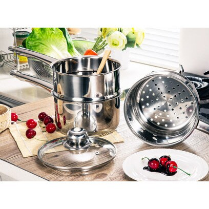 Stainless Steel Steamer and Boiler 4pc Set