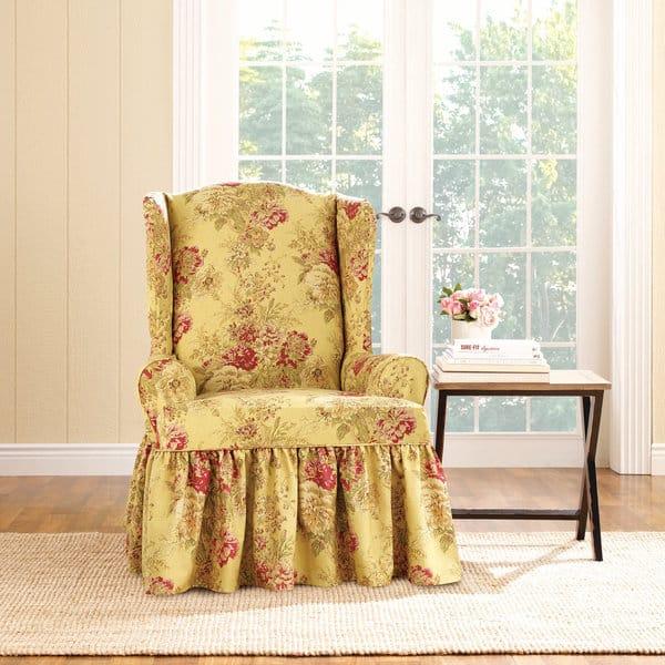 Strange Shop Sure Fit Ballad Bouquet Wing Chair Slipcover Free Machost Co Dining Chair Design Ideas Machostcouk