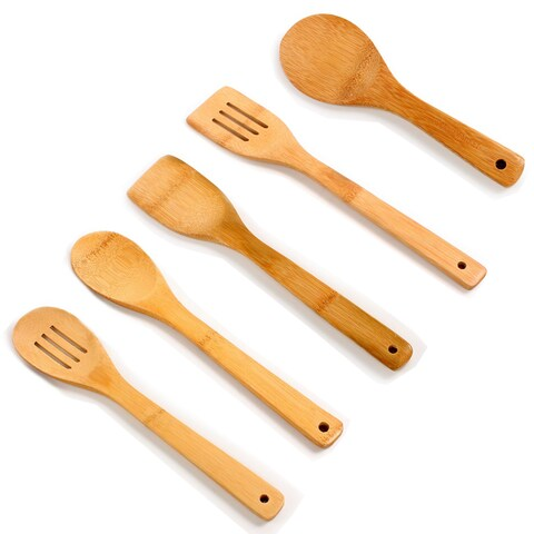 Beige Bamboo 5-piece Utensil Set