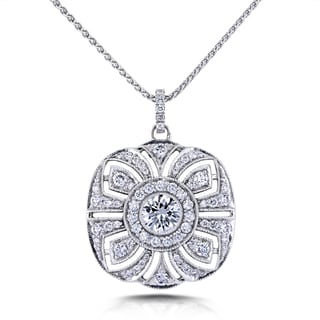 Annello by Kobelli 14k White Gold Certified 1 3/4ct TDW Diamond Antique Fancy Floral Pendant and 18k