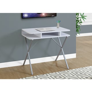 White Laminate and Metal 31-inch Computer Desk