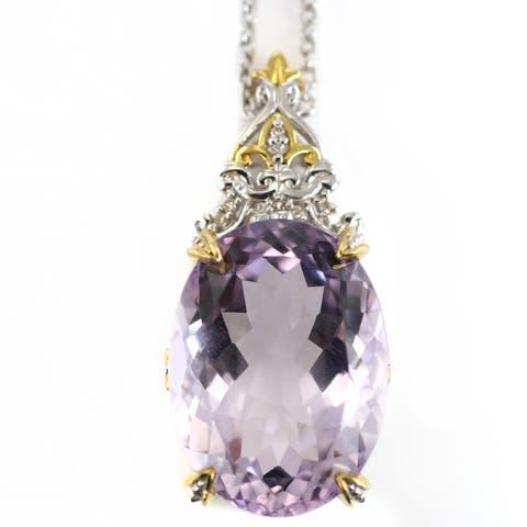 One-of-a-kind Michael Valitutti 29.91ctw Kunzite and Diamond Pendant