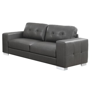 Grey Tufted Bonded Leather Sofa