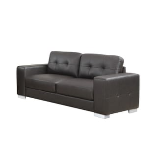 Dark Brown Tufted Bonded Leather Loveseat